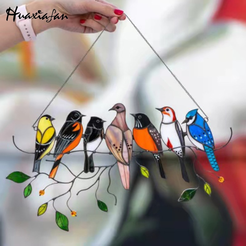 Huaxiafan Birds Stained Glass Window Hangings Gift of Mother's Day Accessory Decorative Pendant Ornament Mothers Day Gift 2021