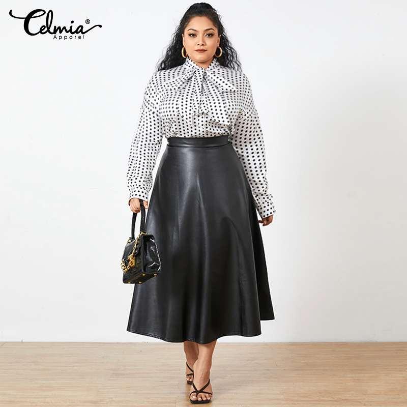 Celmia Plus Size PU Leather Skirts 2021 Autumn Women Solid Midi Skirt Winter Retro Long Skirts Party High Waist Office OL Skirt