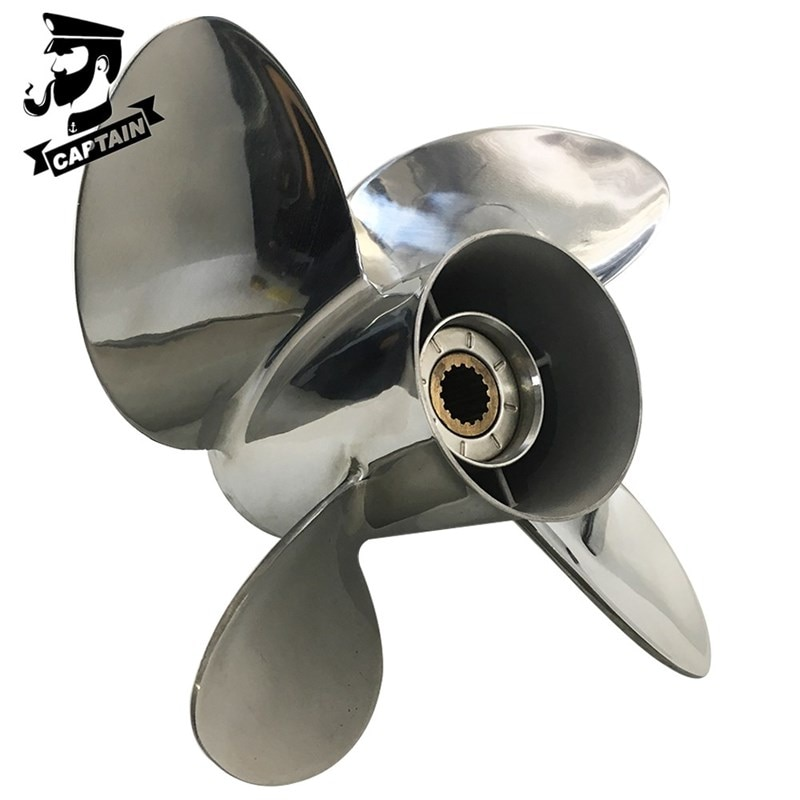 Captain Propeller 4 Blade 13X19 Fit Suzuki Outboard Engines DF70A DF80A DF90 DF100 Stainless Steel 15 Tooth Spline RH enlarge