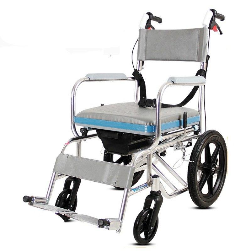 تحمل حمولة قوية سبائك الألومنيوم كرسي متحرك سهلة التنظيف للطي عصا للمشي عربة التنقل متعددة الوظائف لكبار السن