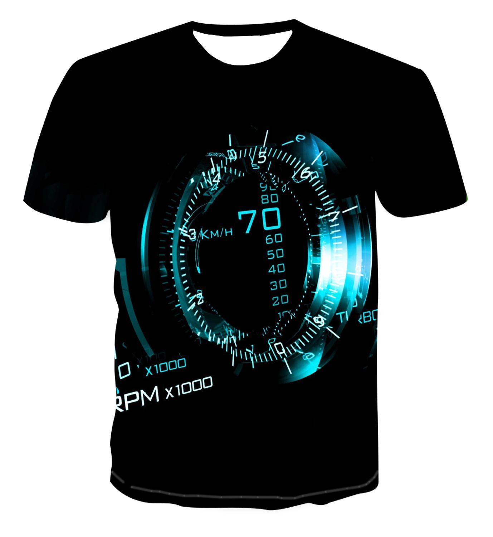 Nueva camiseta de manga corta con estampado de verano 3D de reloj con geometría de estilo urbano para hombre, camiseta s-6xl