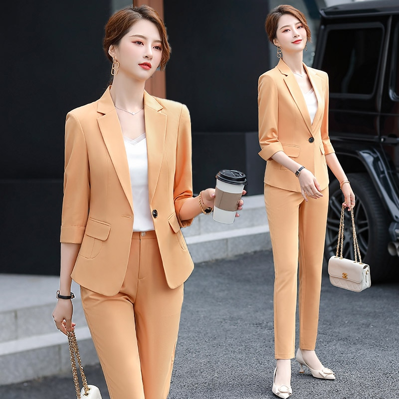 Orange Suit Women's Spring/Summer 2021 New Fashion Temperament Western Style Youthful-Looking Small