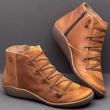 Mujer PU Botines de Cuero mujer Otoño Invierno Cruz gladiador zapato Vintage mujeres Punk Botas Zapatos señoras planos mujer Botas mujer