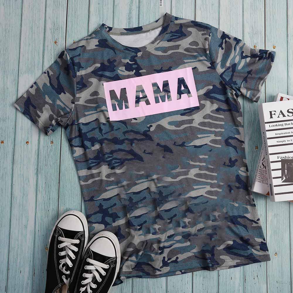 Vogue mujeres de manga corta Harajuku camiseta Mama camuflaje gráfico béisbol camiseta Femme Ulzzang superior ropa coreana u