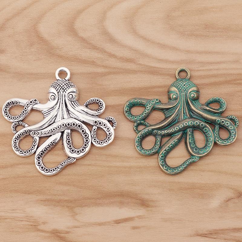 6 peças grandes pingentes dos encantos da lula do polvo para a jóia da colar que faz descobertas 59x57mm