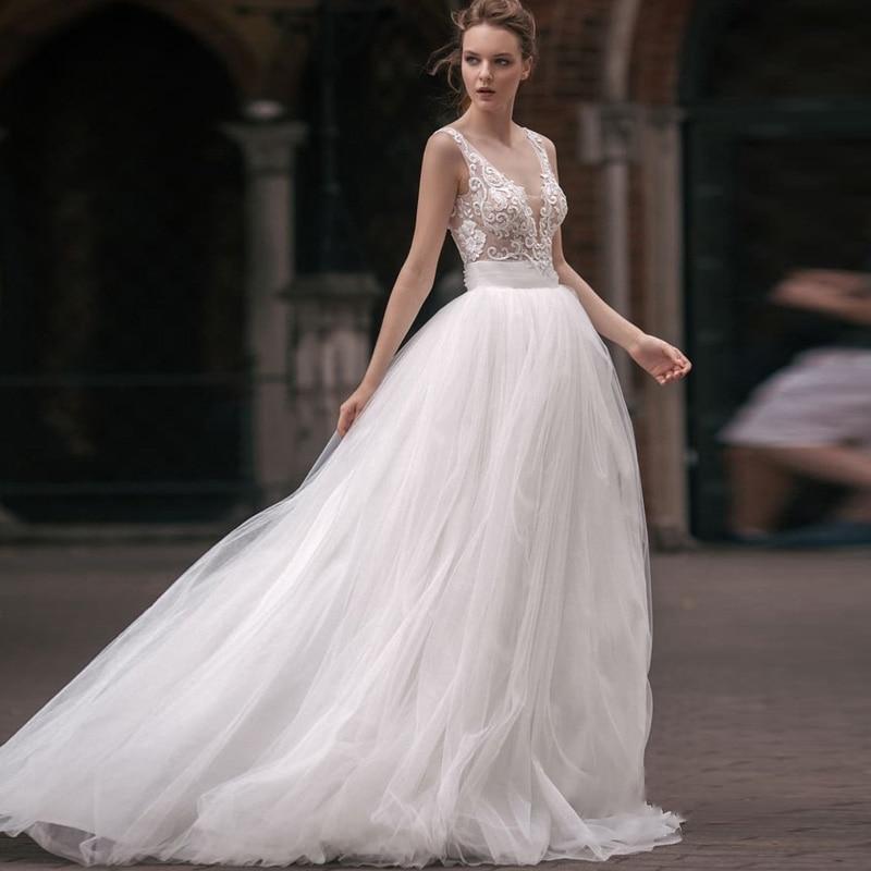 Tirantes espagueti Vestido De Noiva 2020 bordado De encaje Vestido De boda plisado tul fajas Casamento una línea cuello en V Boho Vestido De novia