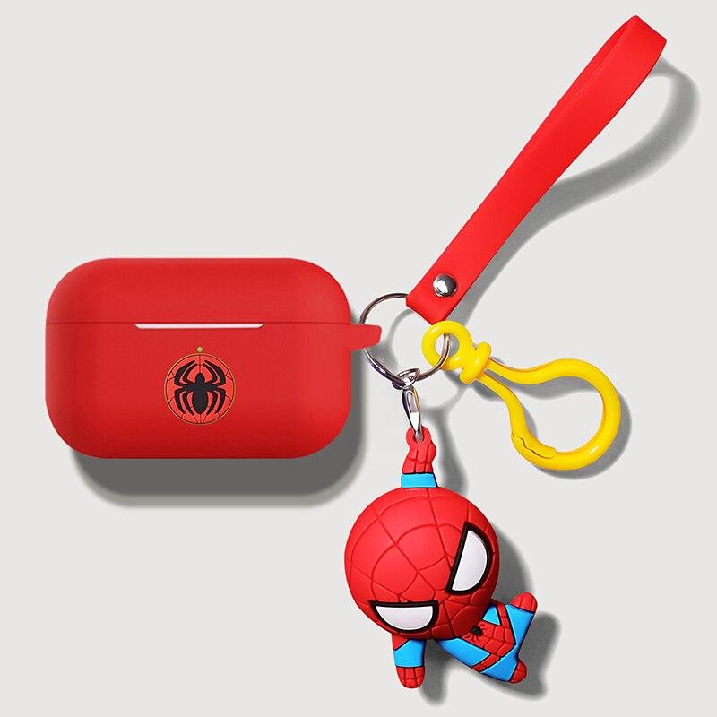 3d marvel spiderman batman sino chaveiro fone de ouvido caso silicone para apple airpods pro vagens ar 3 bluetooth capa coque