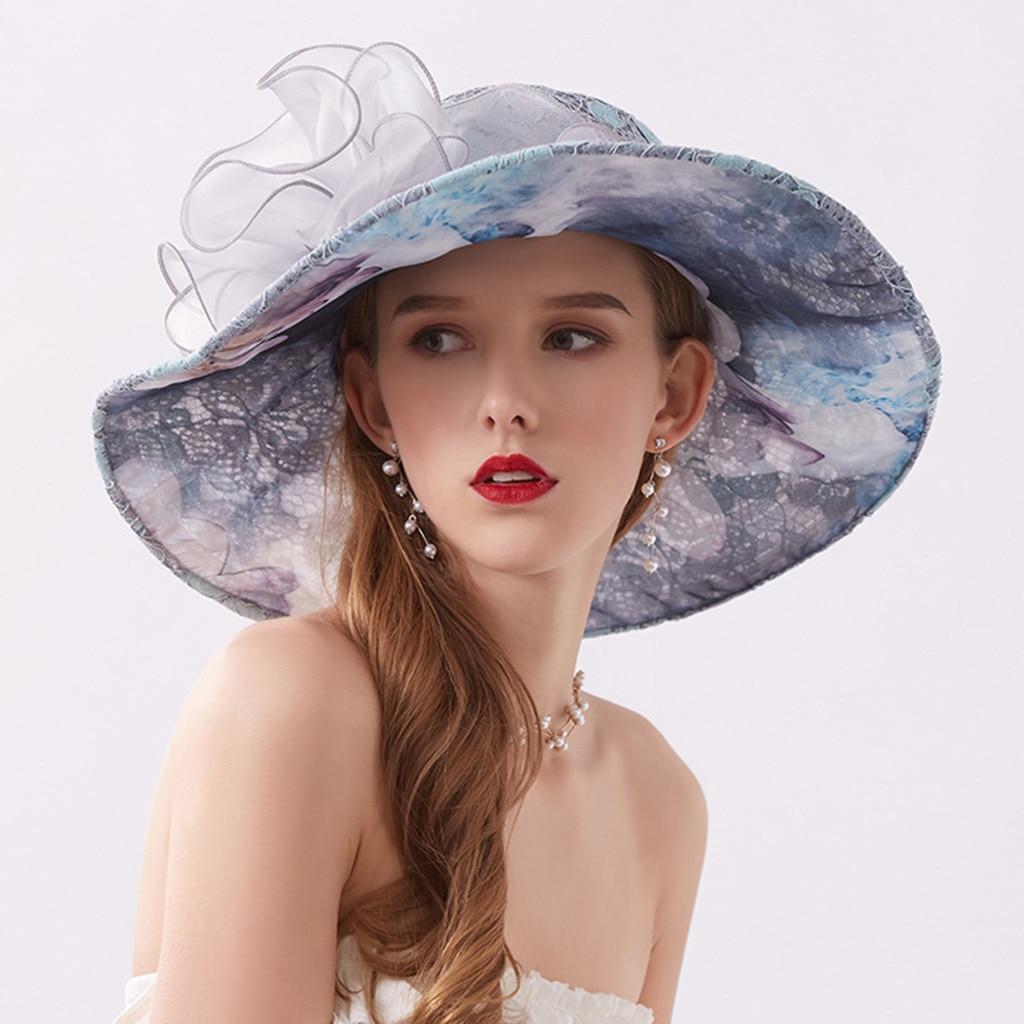 Fashion Summer Women's Beach Bucket Hat Print Casual Foldable Fisherman Caps Wide Brimed Cube Hats Lace Kapelusz Rybacki #15
