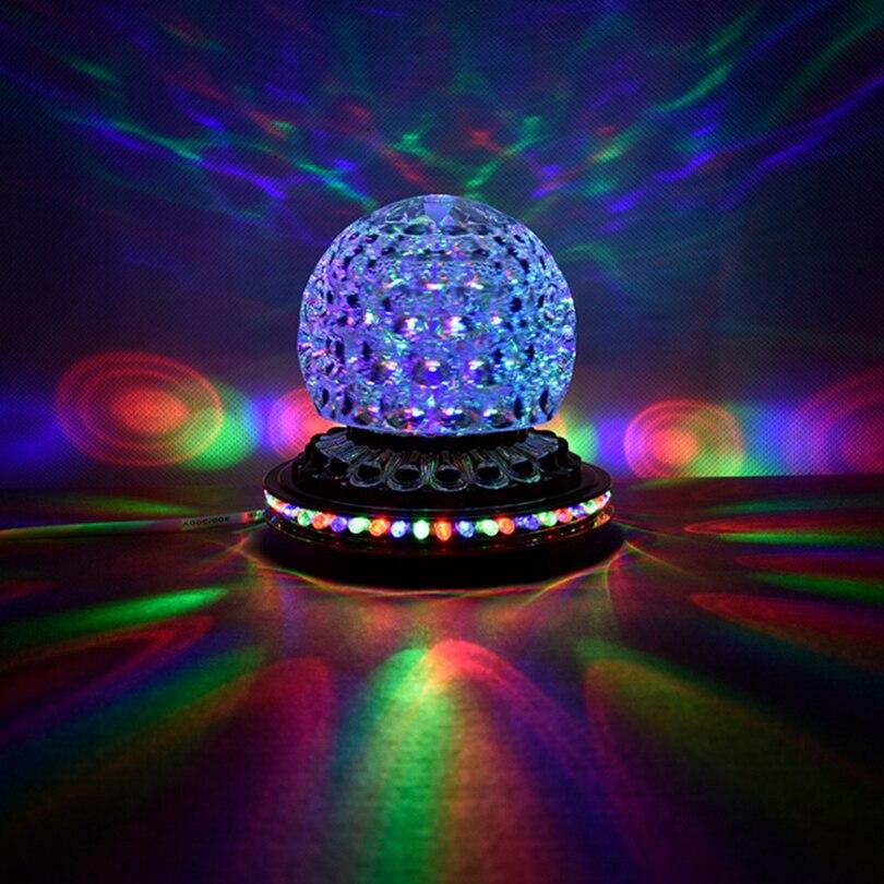 Mini Rotating LED Colorido Luz Do Estágio Casa ktv Festa de Natal DJ Discoteca Efeito Cristal Magic Ball Dj Laser de Iluminação Estroboscópica 3d