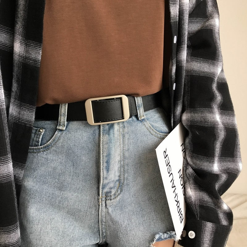 Korean Chic Retro Non-Hole Women's Wide Simple All-Match Student Fashion Personality Jeans Belt Ins