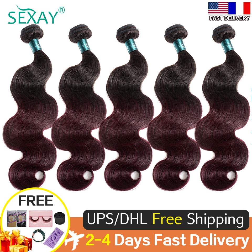 Sexay Burgundy Body Wave Bundles 5 10 15 20 Pcs/Lot Brazilian Human Hair Weave Extensions For Women Wholesales Bulk Hair Bundles
