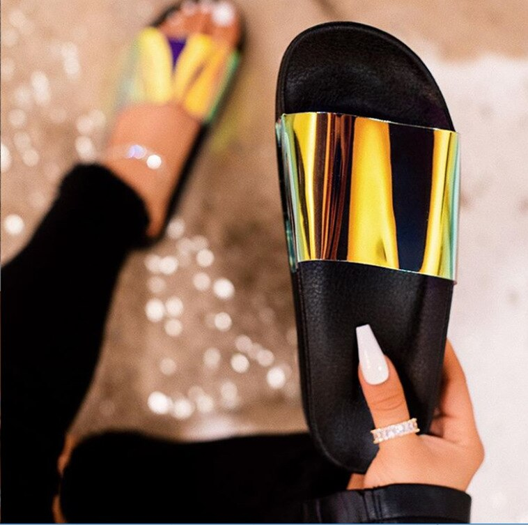 2020 Slipper Shoes Women Summer Slippers 2020 Neon PVC Beach Slides Casual Shoes Female Platform Slippers For Women 42 Size