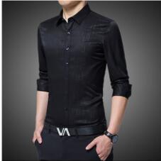 2018 autumn fashion business leisure slender sleeve shirt youth trend mens shirt
