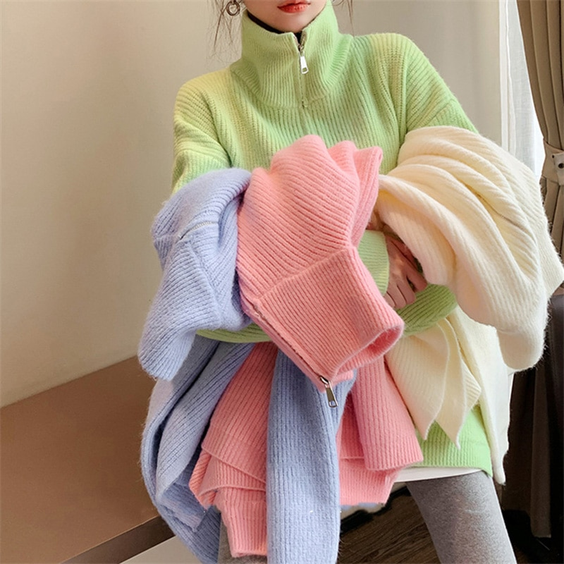 women pullover loose embroidery knitted solid color long sleeve jumper streetwear sweaters tops pullovers female clothes autumn Pullovers Women Turtleneck Sweaters Long Sleeve Solid Color Female Jumper Autumn Fashion Basic Top Soft Knitted Clothes