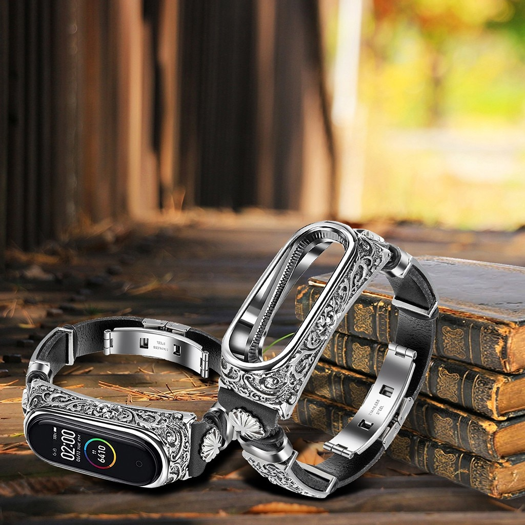 Retro mi banda 3 4 5 pulseira pulseira para xiaomi mi banda 4 pulseira de couro substituição pulseira de couro com miçangas tecer trançado