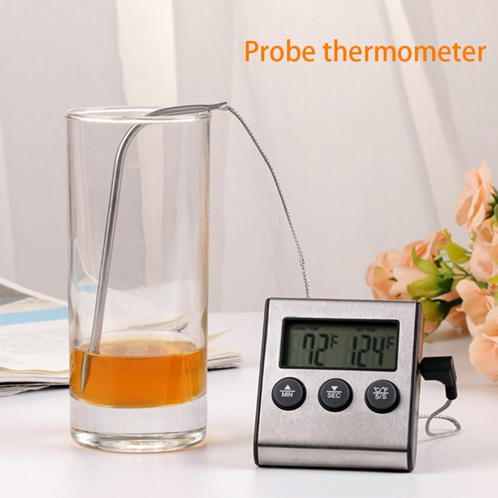 Termómetro Digital multifuncional para alimentos, carne, alarma de escritorio, cuenta atrás, horno de barbacoa con sonda, reloj, pantalla LCD, temporizador, parrilla
