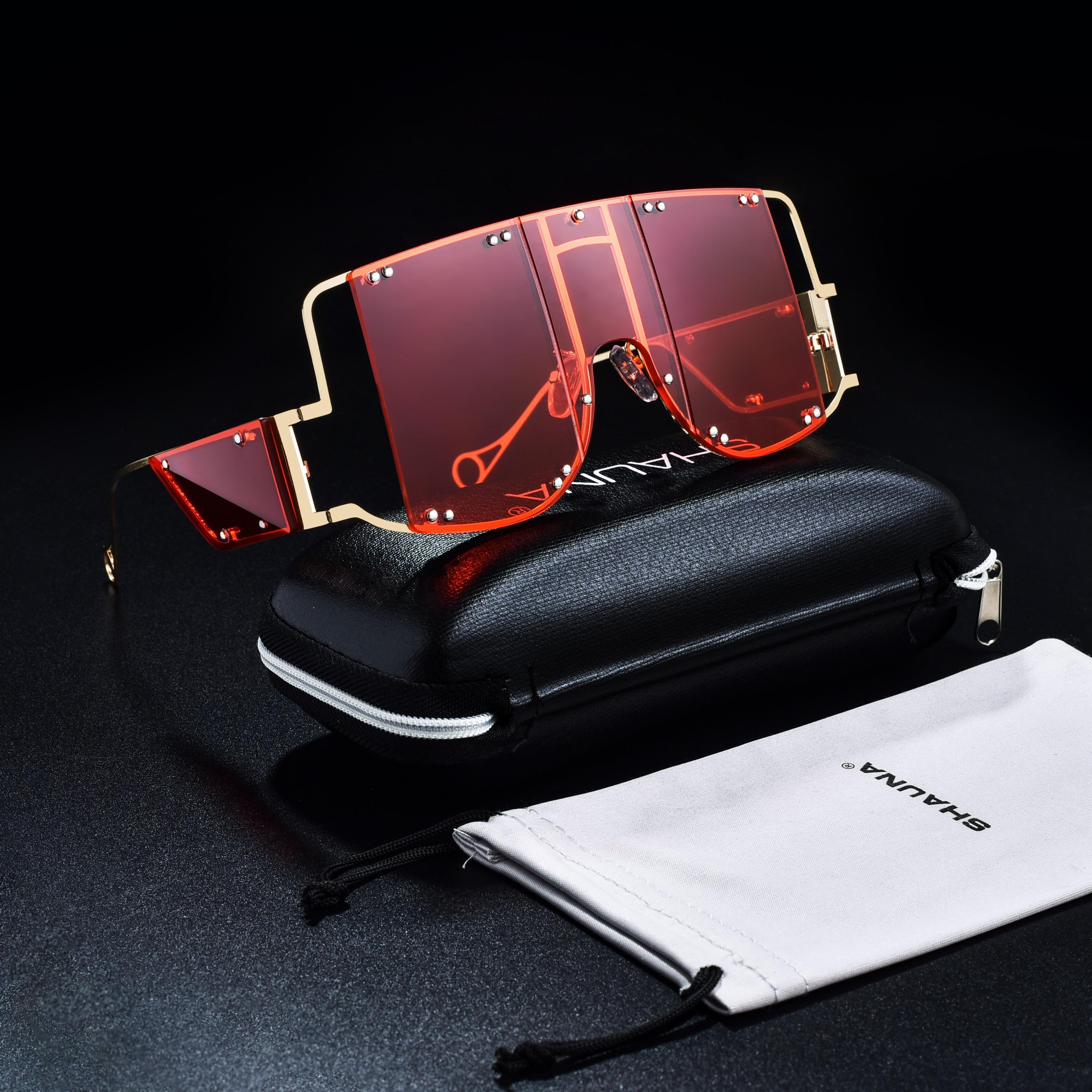 SHAUNA moda damska ponadgabarytowe style Punk kwadratowe okulary fajne unikalne połączone odcień czerwony zielony obiektyw okulary odcień