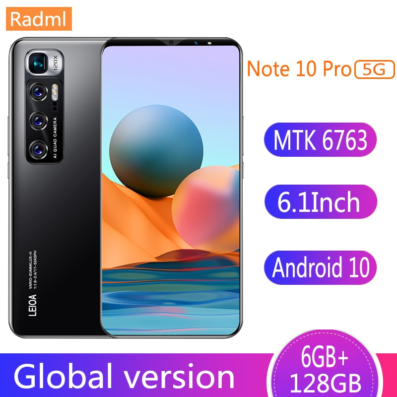 """Note 10 Pro Smart Phone 6GB 128GB Smartphones 6.1"""" MTK 6763 10 Core Network Mobile Phones Android 10.0 4800mAh CellPhone Face ID"""