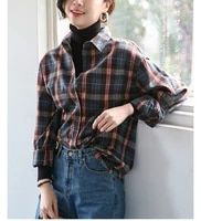 ladies plaid shirt simple versatile temperament commuter shirt girls slim long sleeved cottont blouse vintage button up shirt