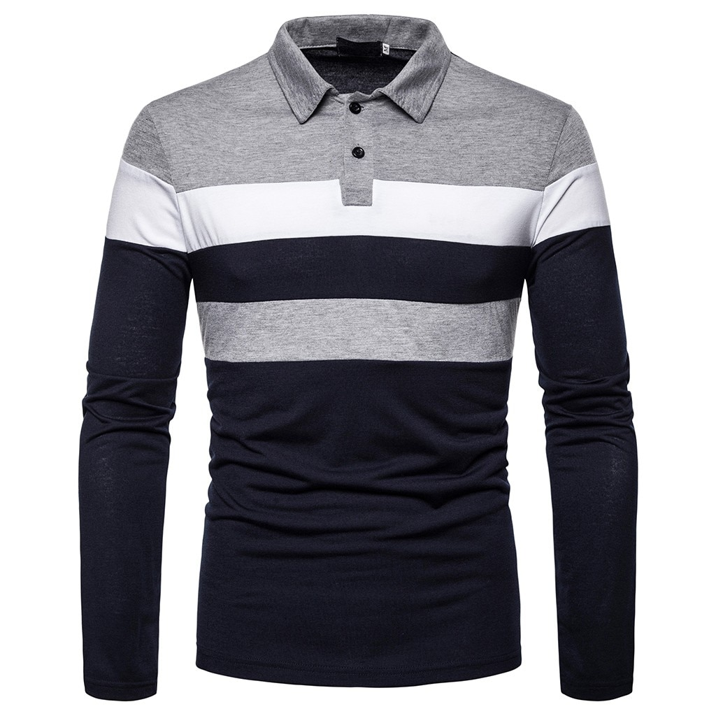 Polo para hombre, camiseta de manga larga para hombre, botones de polos sólidos, cuello vuelto ajustado, Tops de Otoño Invierno, camisa, blusa de talla grande # G25