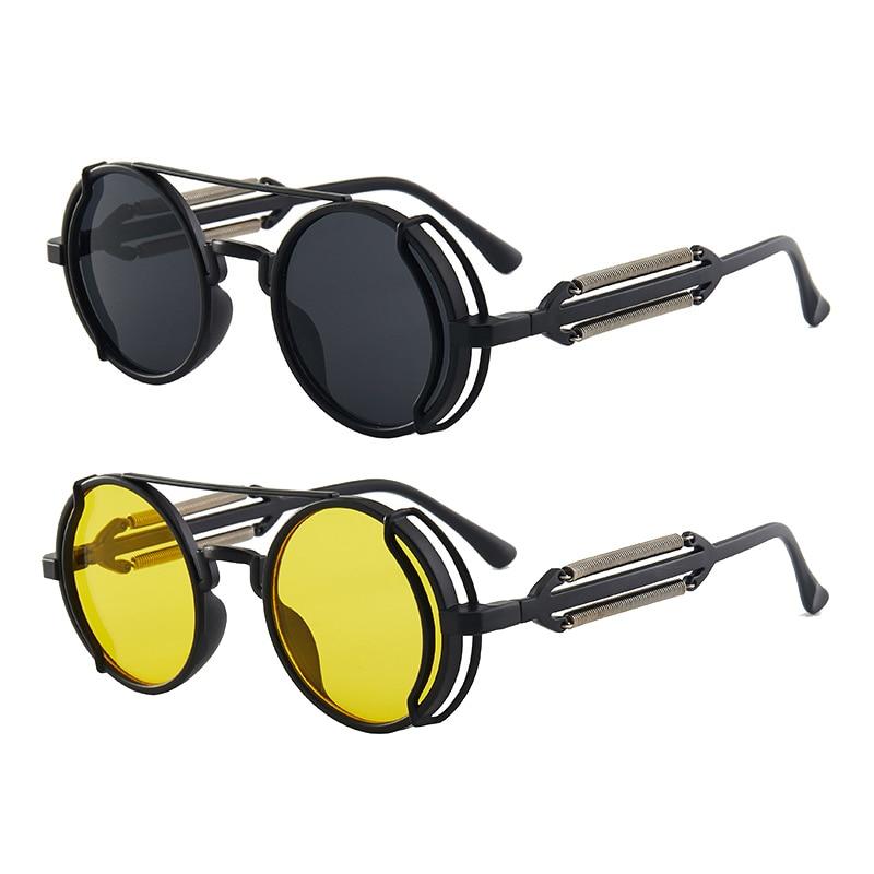 Солнцезащитные очки в стиле панк для мужчин и женщин UV400, брендовые дизайнерские круглые солнечные очки в готическом стиле, ретро