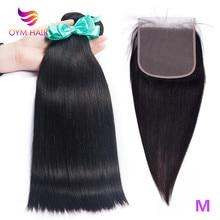 OYM HAIR Peruvian Straight Human Hair 3 Bundles With 1 Lace Closure Hair Weave Bundles 6x6 Closure Remy Hair Extensions