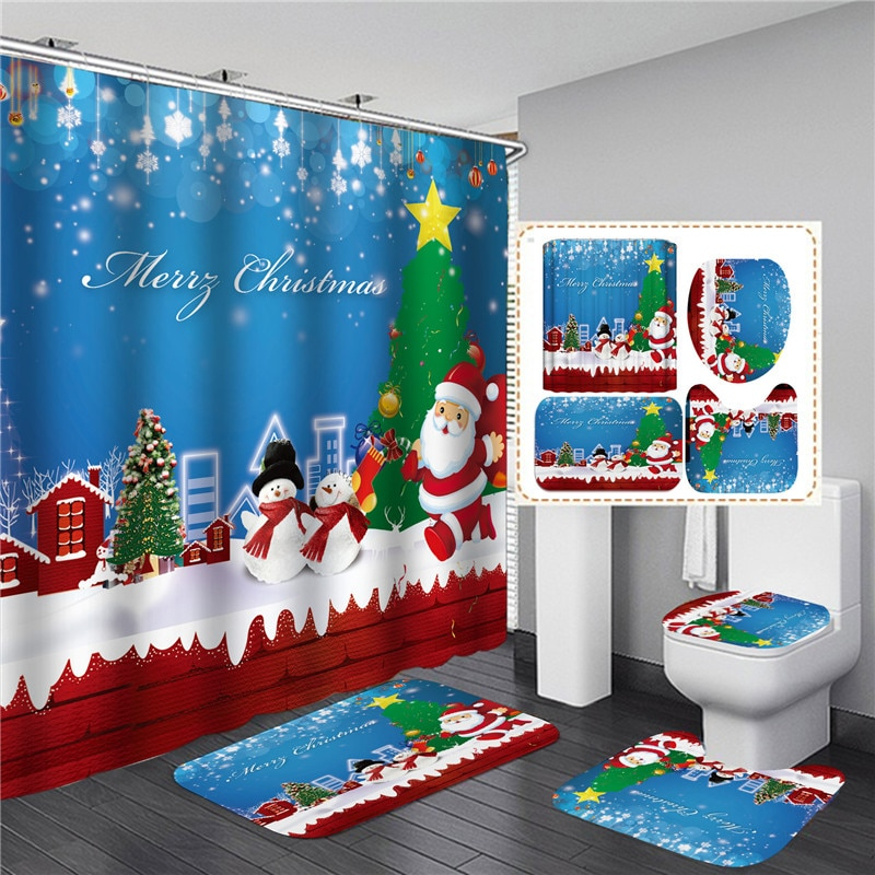 Blue Christmas Elk Print Shower Curtain Set with Anti Slip Toilet Mat Rug Carpet Bath Products Bathroom Home Decor with Hooks
