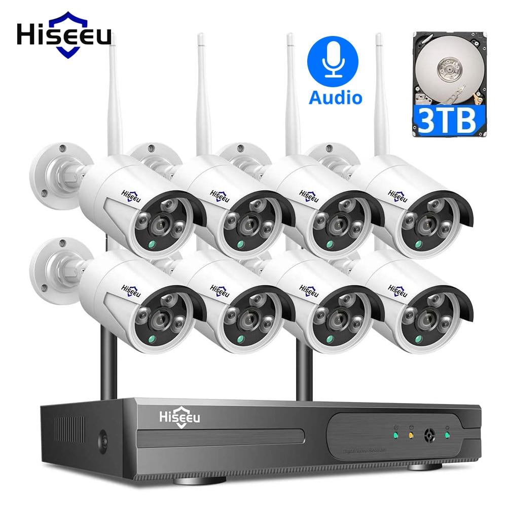 Hiseeu 1080P 1536P H.265 + اللاسلكية نظام الدائرة التلفزيونية المغلقة 8CH 3MP HDD طقم NVR الصوت في الهواء الطلق IP واي فاي كاميرا مراقبة الأمن مجموعة