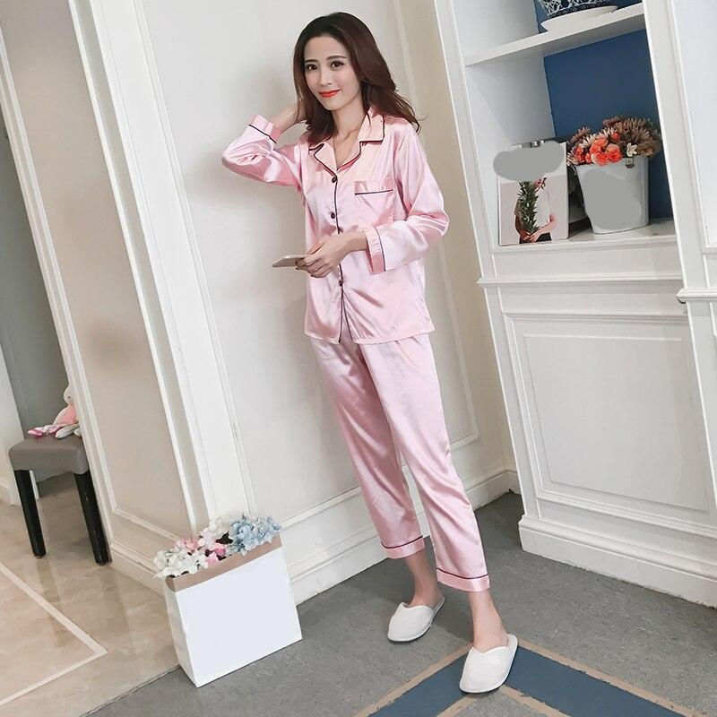 Pijama de seda para mujer, pijamas de satén para mujer, conjuntos + Pantalones, pijama manga larga de seda para mujer, cuello vuelto, decoración de bolsillo con botón