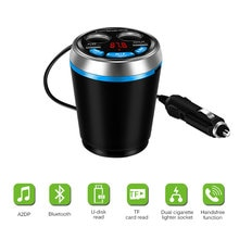 Transmetteur FM voiture   Bluetooth, musique, lecteur MP3, mains libres, Kit de voiture, support de verre, allume-cigare, adaptateur chargeur de voiture USB 2