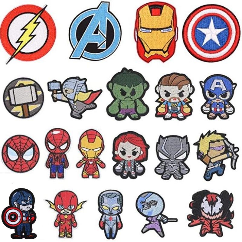marvel-parches-de-dibujos-animados-de-iron-man-spiderman-hulk-capitan-america-pegatinas-para-ropa-calcomanias-de-tela-de-bordado