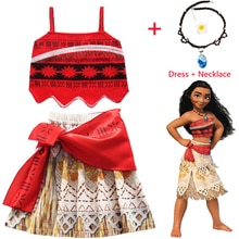 New Baby girls Princess Moana Cosplay Costume Children Vaiana dress with Necklace for Christmas Hall