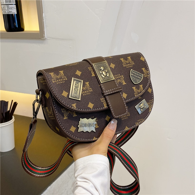 حقيبة نسائية عصرية عتيقة عالية الجودة حقيبة ساعي الكتف النسائية حزام عريض حقائب كروس فاخرة غير رسمية مصمم Bolsos