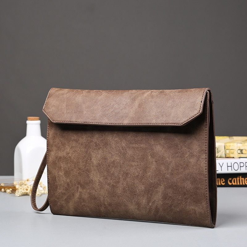 Envelope Office Bags for Men Thin CrossBody Bags Men Manager Messenger Vintage Clutch Conference Bri