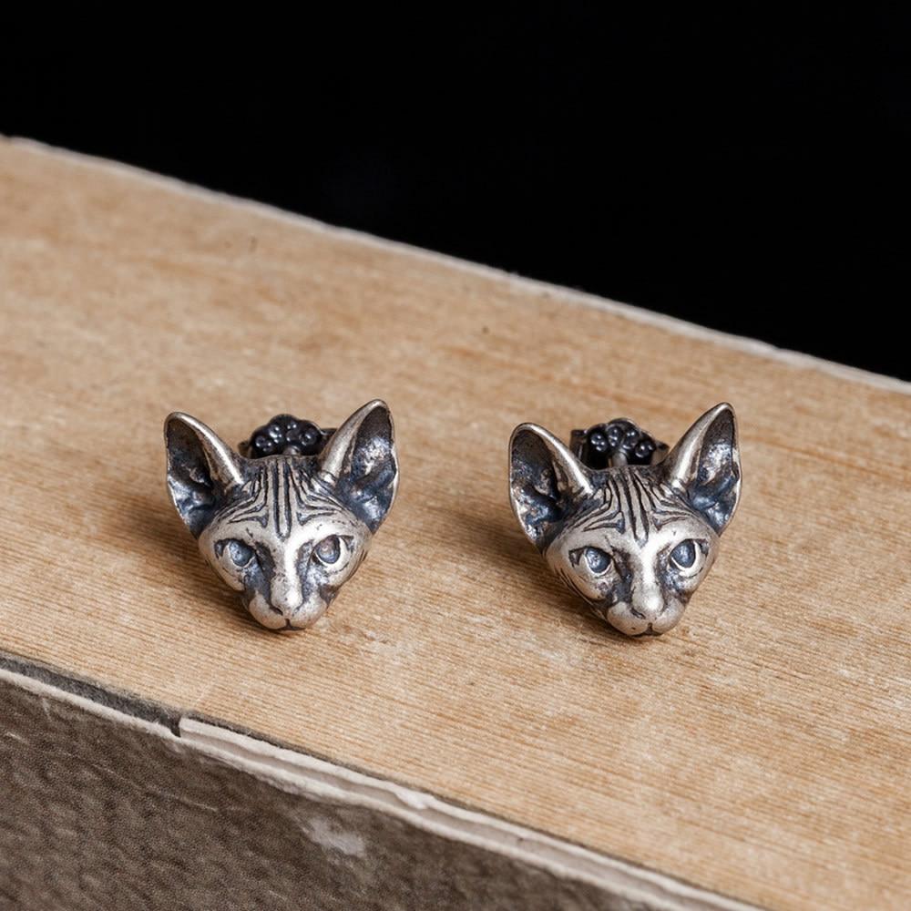 Nova moda retro real 100% 925 prata esterlina sólido gato parafuso prisioneiro brincos para menina feminino orelha jóias presente exclusivo projetado