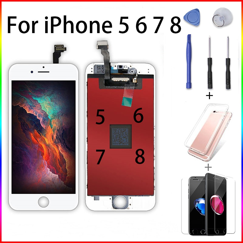 Pantalla LCD grado AAAAA para iPhone 5 6 7 8 reemplazo de Pantalla táctil 3D digitalizador sin píxeles muertos para 7 LCD + regalos