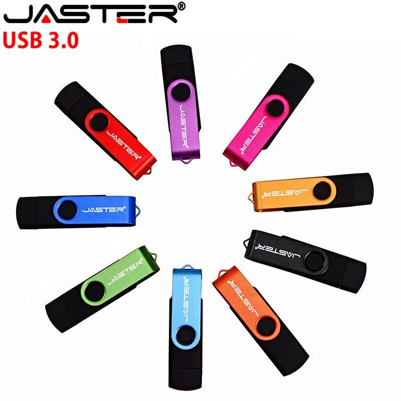 Memoria USB JASTER USB OTG 3,0 de 64GB, 32GB, 16GB, 4GB de almacenamiento externo