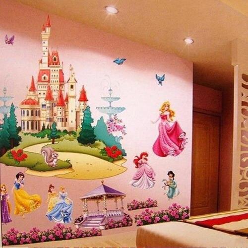 3D Flor Dos Desenhos Animados Diy Removível Sete Princesa Castelo Adesivos de Parede Home Decor Para Crianças Quartos Sala de estar Do Quarto Menina
