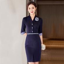 High-End Business Dress 2021 New Spring Stewardess Uniform Sales Workwear Jewelry Store Beauty Salon