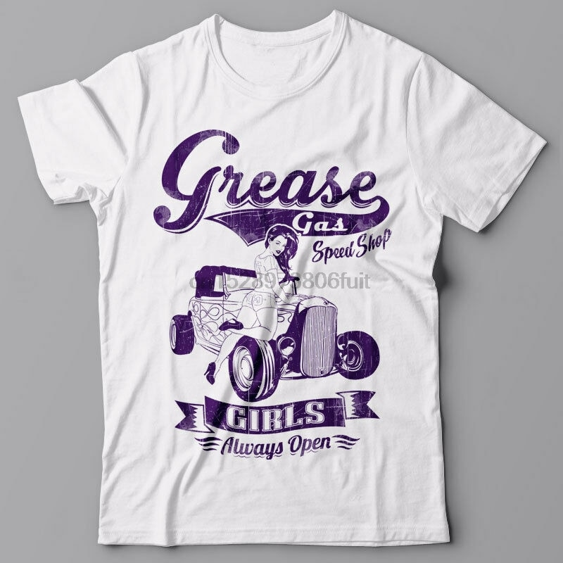 Mens T-shirt graphic tee - GREASE GAS SHOP car retro gift pinup pin up girl