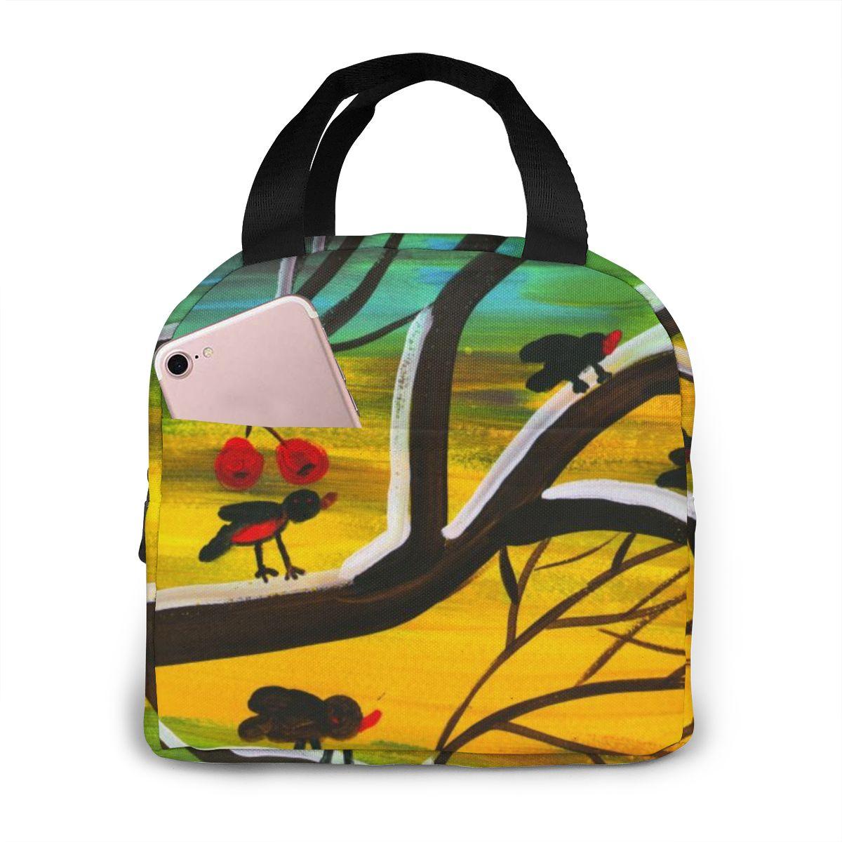 NOISYDESIGNS Paquete de aislamiento Totebag lonchbox pintura pájaro cereza personalizado enfriador térmico bolsa aislante para mujeres
