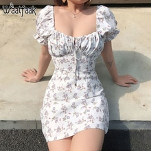 Waatfaak Weiß Casual Floral Frauen Kleid Bandage Geraffte Sommer Mini Kleid Büro Puff Sleeve High Street Aline Damen Kleider