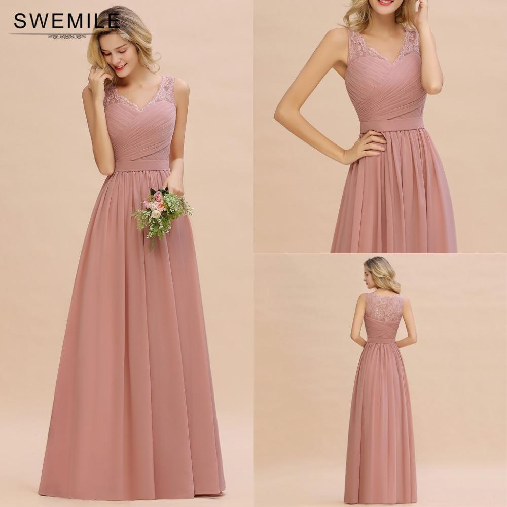 Real Image Lace Long Bridesmaid Dresses Short Chiffon Wedding Party Dresses robe de soirée de mariage gaine Dress For Women недорого