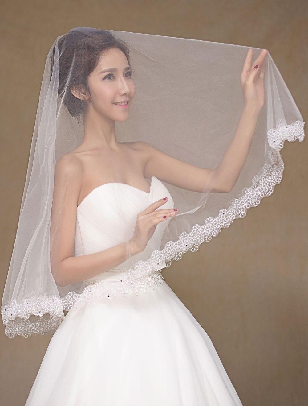 White Ivory Semi-Sheer Lace Tulle Bridal Veil plus guipure lace insert semi sheer blouse