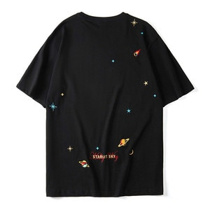 Hip Hop Planets Embroidery T-shirt Men Oversized Loose Streetwear Tshirts Cotton Harajuku Men's Short Sleeve T Shirts Camisetas