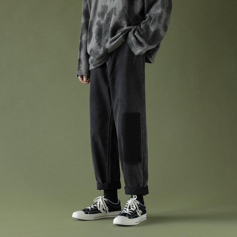 Korean Men Jeans Fashion Patchwork Man Casual Harem Pants Harajuku Men's Denim Pants Loose Straight Trousers Male Black 2XL black harem pants devil fashion gothic loose trousers steampunk black casual draped pants irregular breeches