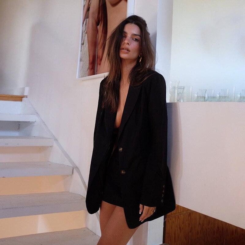 2020 Autumn Winter New Fashion Blazer Jacket Women Casual Pockets Long Sleeve Work Suit Coat Office Lady Solid Slim Blazers