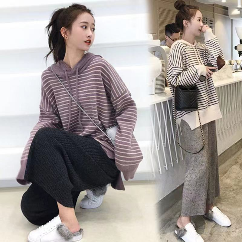Maternity Clothes Suit 2021 Autumn and Winter New Playful Loose Sweater Wide-Leg Pants Pregnant Women Stomach Lift Two-Piece Set grrcosy maternity autumn new korean sweatshirt loose sportswear with wide leg pants fashion pregnant woman set cloth