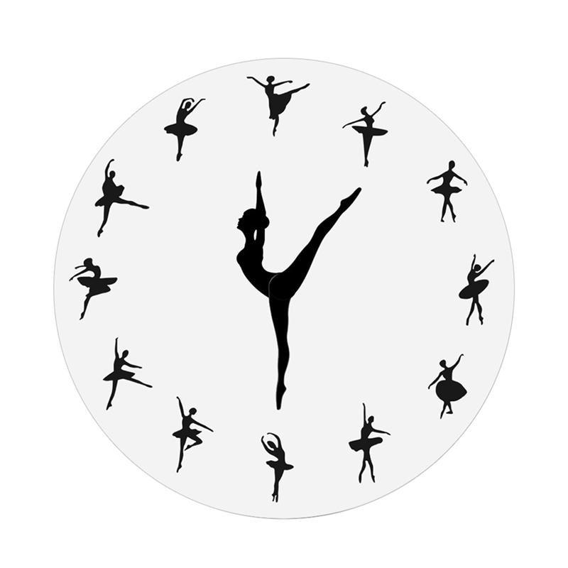 1 pieza, reloj de pared encantador de bailarina, reloj grande, aguja de aguja para chica bailarina de Ballet, reloj de pared, decoración del hogar para sala de estar