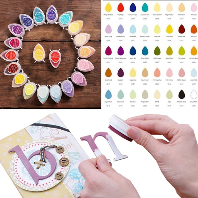 15pcs/lot Water Drops Pigment Stamping Craft Ink Pad Inks For DIY scrapbooking Photo Album Decoration